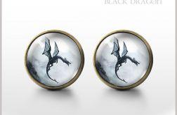 Black Dragon - Czarny Smok - antique bronze - kolczyki wkrętki