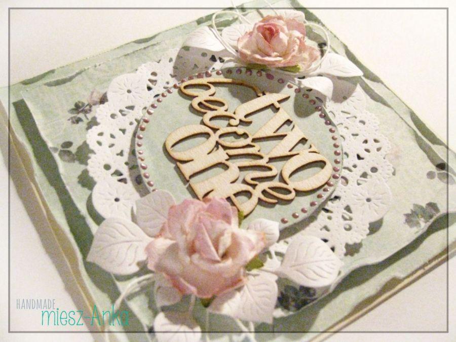 Delikatna kartka na Ślub z różyczkami