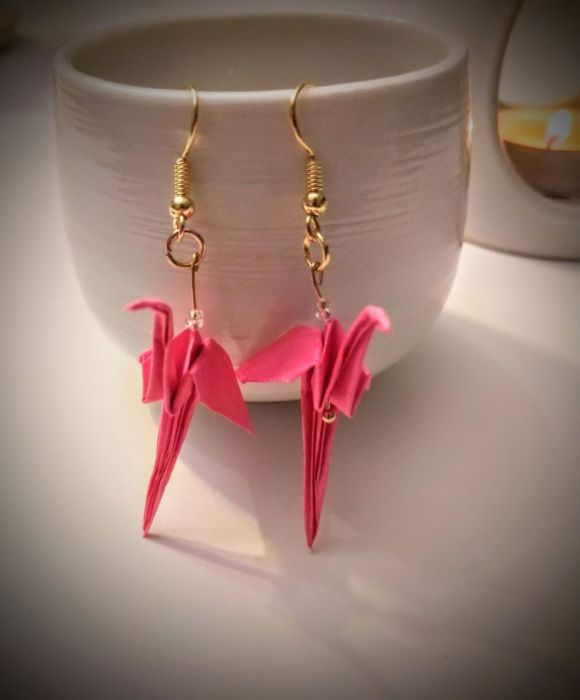 Kolczyki origami flamingi - Z przodu