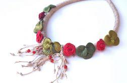 Unikatowy naszyjnik, glinka polimerowa Róża