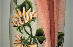 Szal pashmina słoneczniki - filcowany motyw