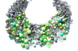4593 naszyjnik kolia szary zielony