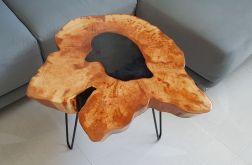 Stolik drewniany, kawowy - olcha i żywica