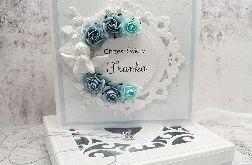 Kartka na chrzest aniołek w pudełku CHS 033