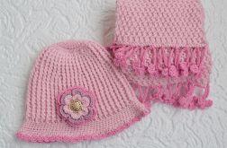 Jasny róż  komplet szal i kapelusik