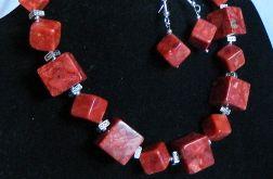 Koral czerwony i srebro, geometryczny zestaw