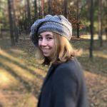 Szary beret  freeform crochet
