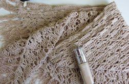 Chusta ażurowa z bawełny w kolorze nude