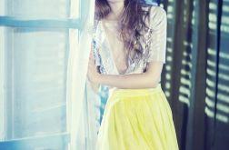 Jedwabna limonkowa spódnica na podszewce
