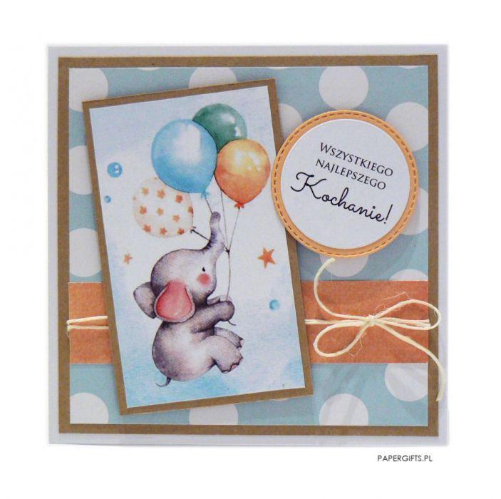 Kartka na urodziny dziecka balon i słonik