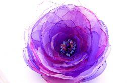 Broszka kwiat - fiolety 10 cm