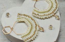 Kremowo złote kolczyki wachlarze - makrama