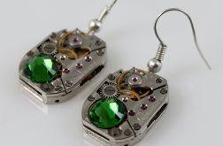 Zegarowe zielone - kolczyki