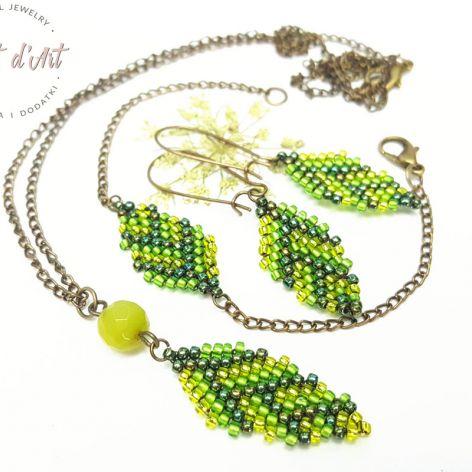 Komplet Zielone Koralikowe Liście - wariant 4