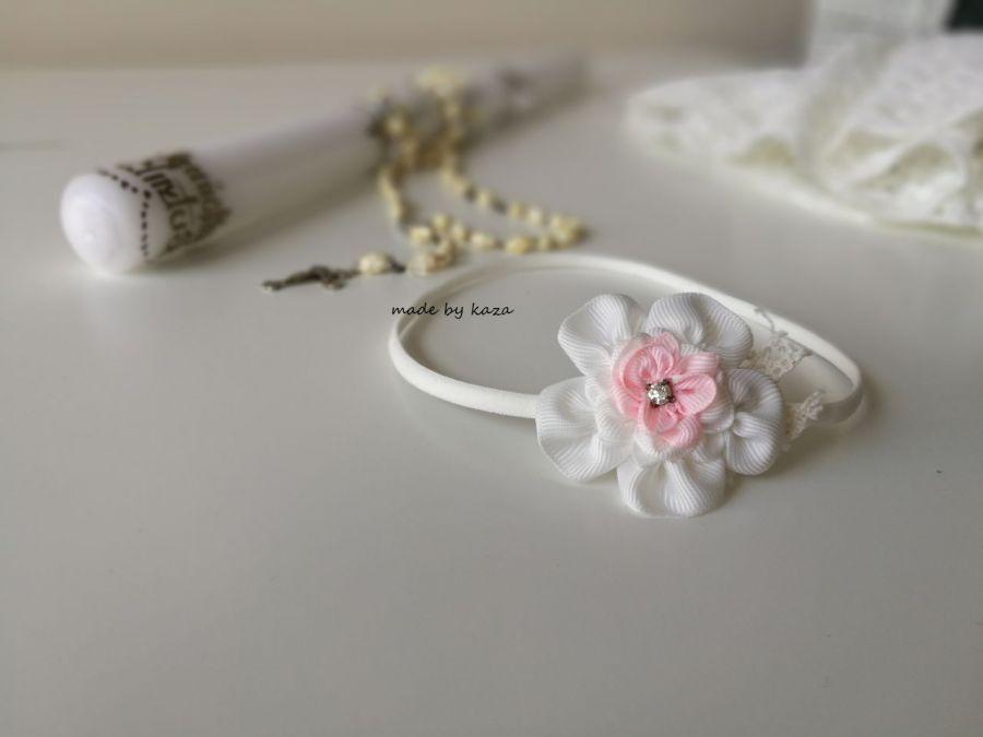 Opaska ivory kwiat na chrzest różowa