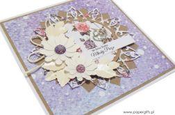 Kartka ślubna białe kwiaty na fioletowym tle