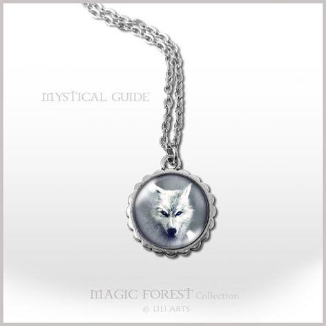 Medalion, naszyjnik - Biały wilk - mały