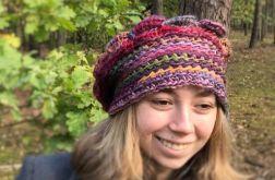 Czapka freeform crochet róż