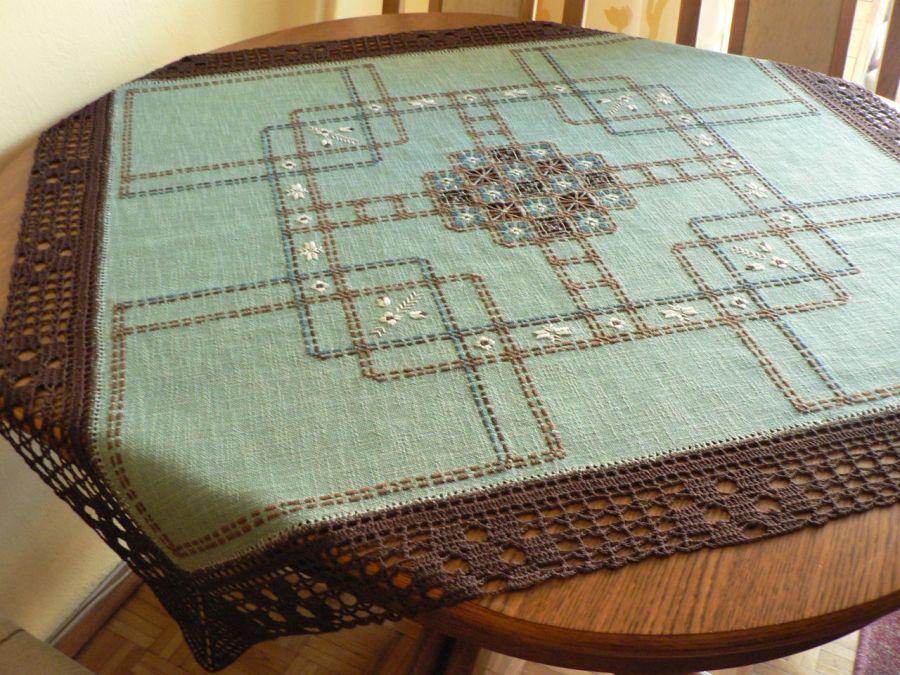 serweta haftowana w kratę-turkusowa