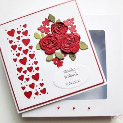 Kartka ŚLUBNA ciemnoczerwone róże