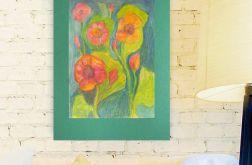 Rysunek kwiaty ciemnozielonym tle nr 8