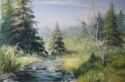 Pejzaż Wiosna, ręcznie malowany, olej
