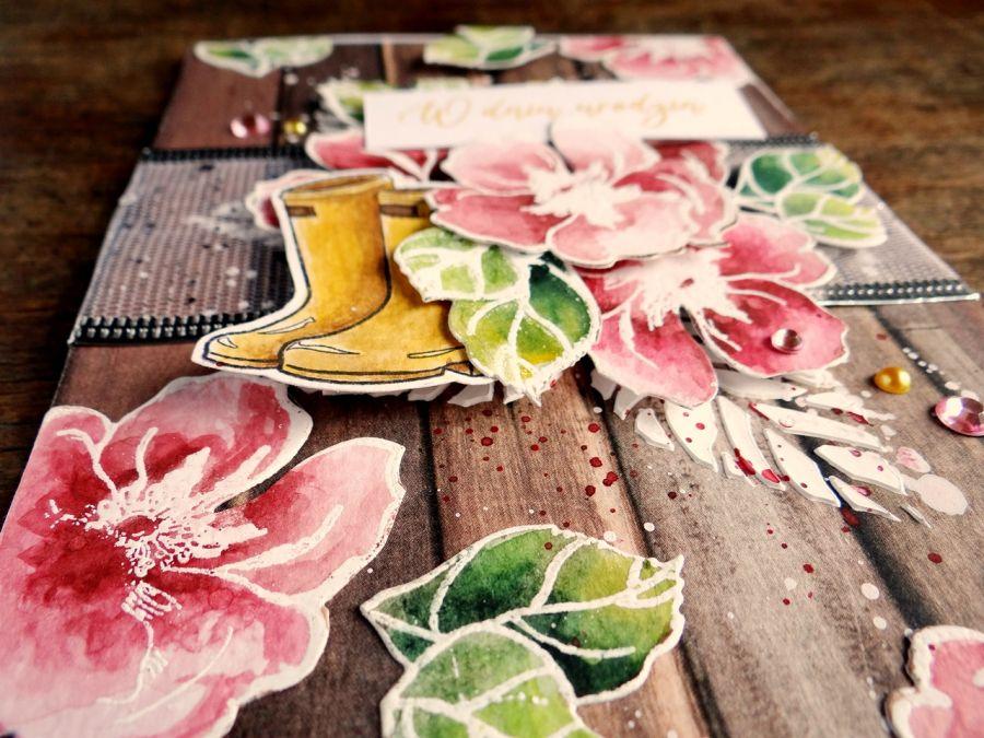 W dniu urodzin - kartka z kwiatami - Detal1