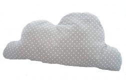 Designerska poduszka chmurka szara w białe kropki