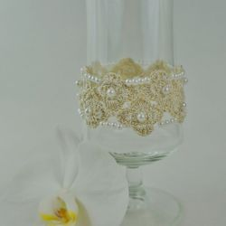 Bransoletka szydełkowa biało-złota  4