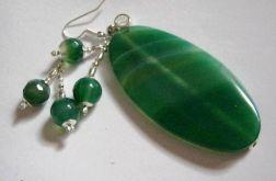 Zielone agaty - zestaw biżuterii, wisioreki i kolczyki