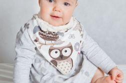 Apaszka, chustka dla dziecka minky - sowy ecru