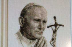 Obraz Haft Krzyżykowy - Św. Jan Paweł II / Hand Made /