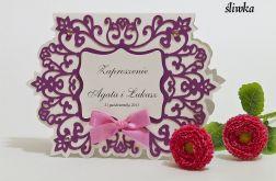 Zaproszenie na ślub z ornamentem kolor śliwka