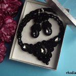 Czarny z Naszyjnikiem Komplet sutasz - Komplet Czarny naszyjnik kolczyki Rhodiana Sutasz w pudełku