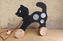 Drewniany kotek na kółkach, popielaty /czarny