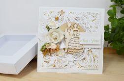 Biało złota kartka ślubna