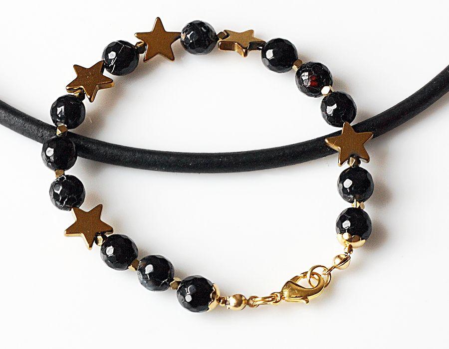 Agat w gwiazdkach - bransoletka