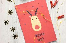 Kartka świąteczna oryginalna renifer 2
