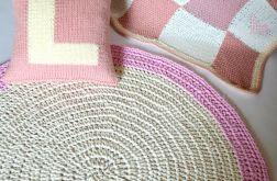 bawełniany dywan ecru/róż