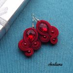 RubinLOVE- wyjątkowy naszyjnik + kolczyki - Naszyjnik i kolczyki sutasz  kolor rubinowy czerwony wiśniowy kolczyki- Rhodiana