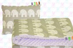 Kocyk MINKY + poduszka słonie+fiolet