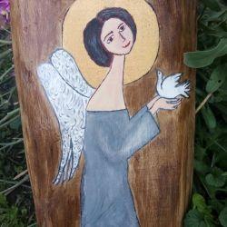 Anioł z gołąbkiem  w popielatej sukience - akryl na desce