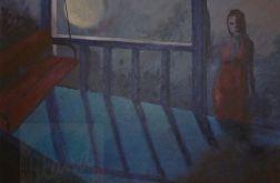 światło księżyca obraz nokturn akryl