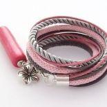 Podwójna bransoletka szaro-różowa