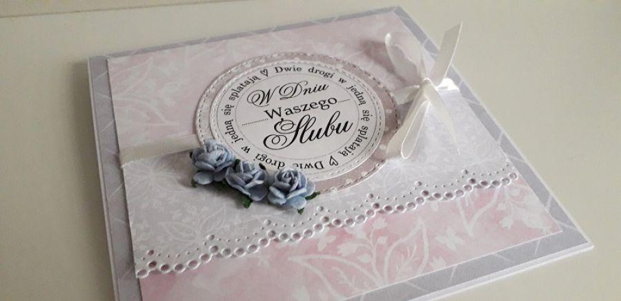 Kartka ślubna koronka napisy