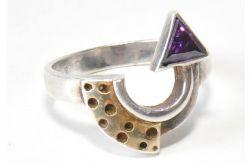 51 pierścionek vintage, srebrny, oryginalny,