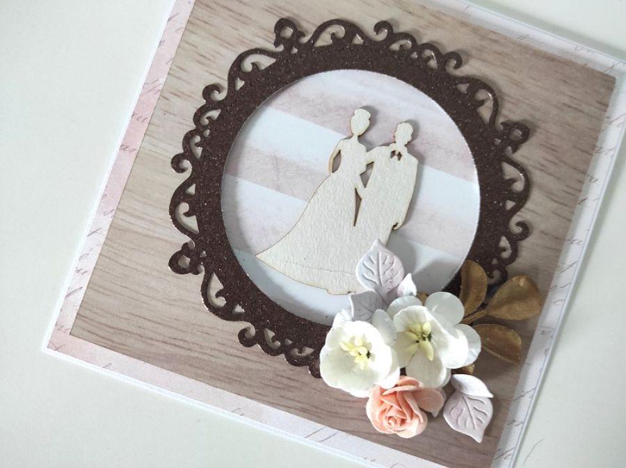 Kartka naślub para młoda kwiaty brąz -