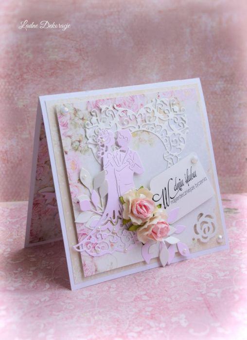 Kartka  w pudełku Pudrowy Róż - Pamiątka ślubu handmade