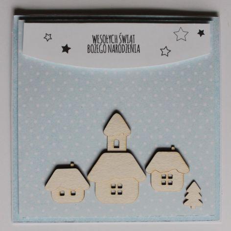 Kartka świąteczna domki osiedle napis