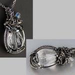 Srebrny wisiorek: kryształ, kamień księżycowy - srebrny wisiorek z kamieniem księżycowym i kryształem górskim